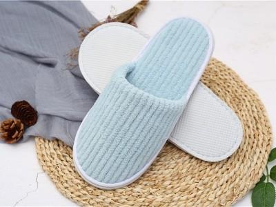 抽条珊瑚绒一次性拖鞋